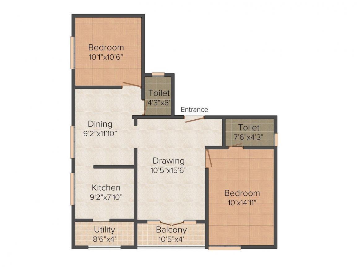 Floor Plan Image of 990.0 - 1320.0 Sq.ft 2 BHK Apartment for buy in Marutham Akshaya