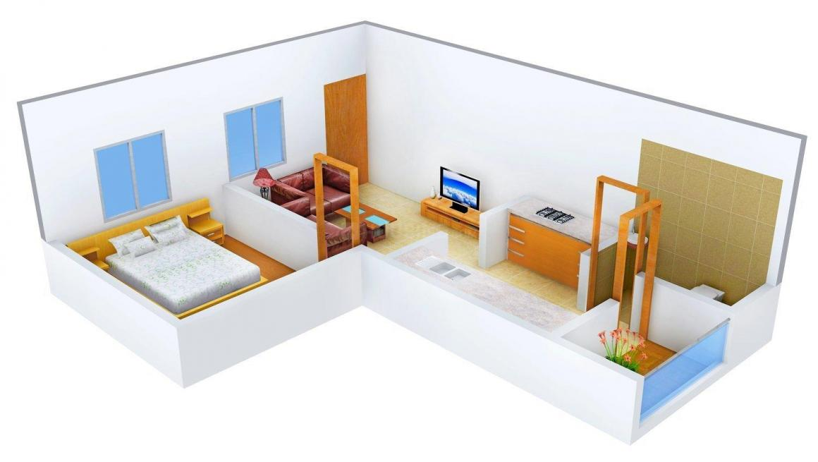 Floor Plan Image of 575 - 825 Sq.ft 1 BHK Apartment for buy in Ria Kamla Park