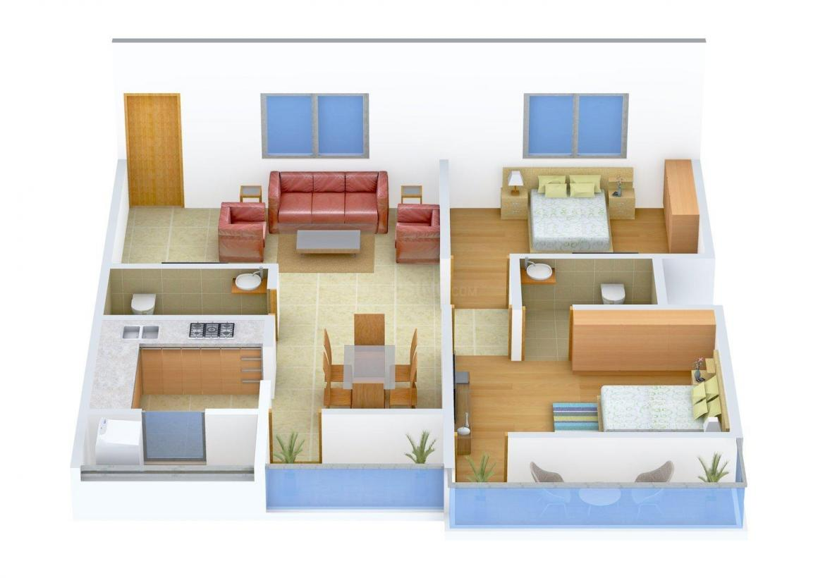 Floor Plan Image of 0 - 1135.0 Sq.ft 2 BHK Apartment for buy in Happy Home Sarvoday Orchid