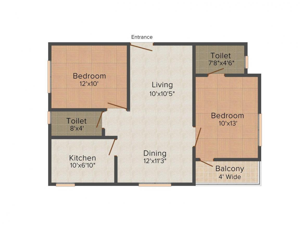 Floor Plan Image of 1006 - 1216 Sq.ft 2 BHK Apartment for buy in Lifestyle LDV Residency
