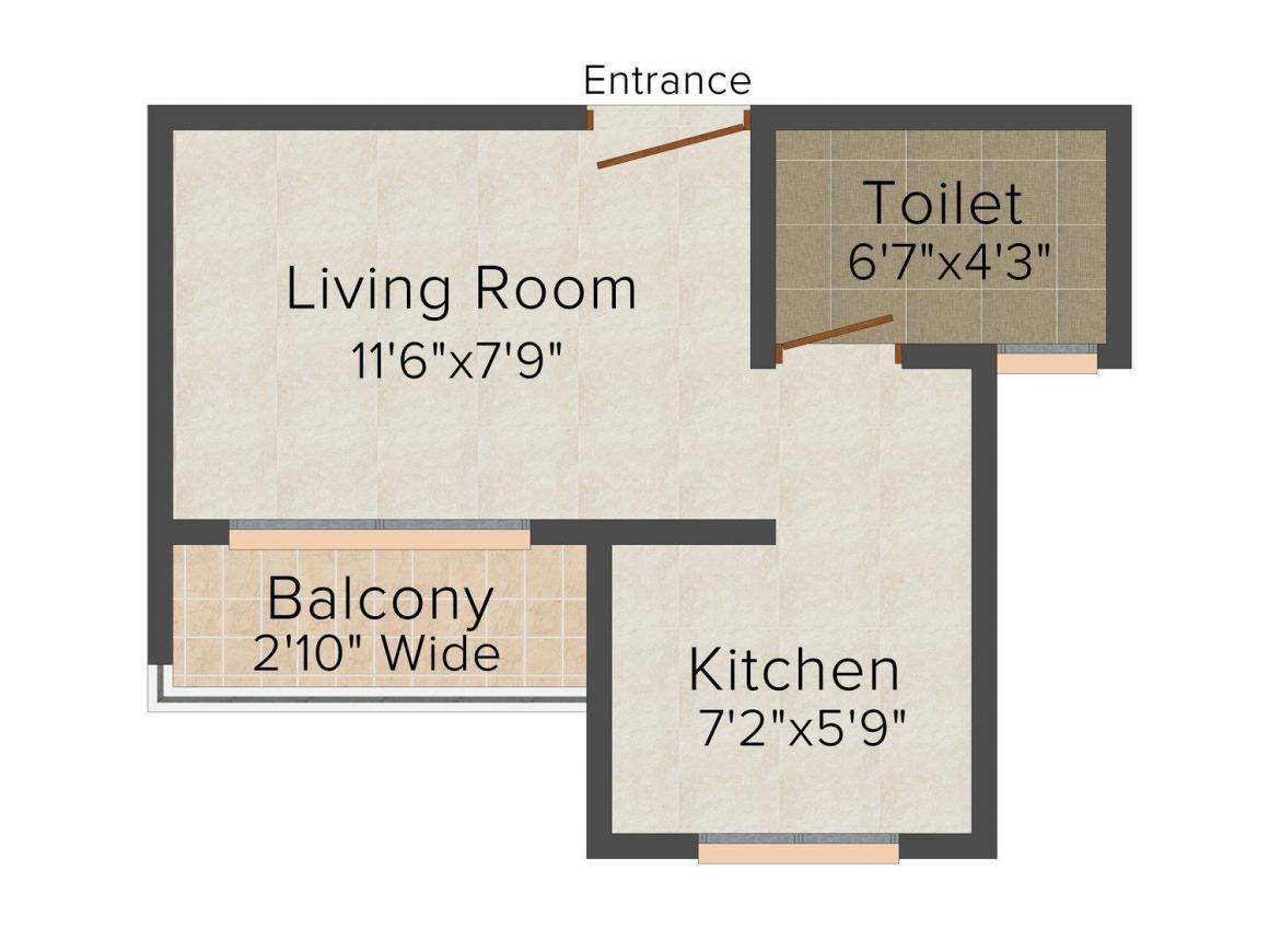 Floor Plan Image of 0 - 287.0 Sq.ft 1 RK Apartment for buy in Jai Mata Di Krupa