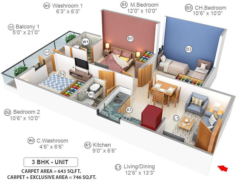 GLS Arawali Homes 2 Floor Plan: 3 BHK Unit with Built up area of 643 sq.ft 1