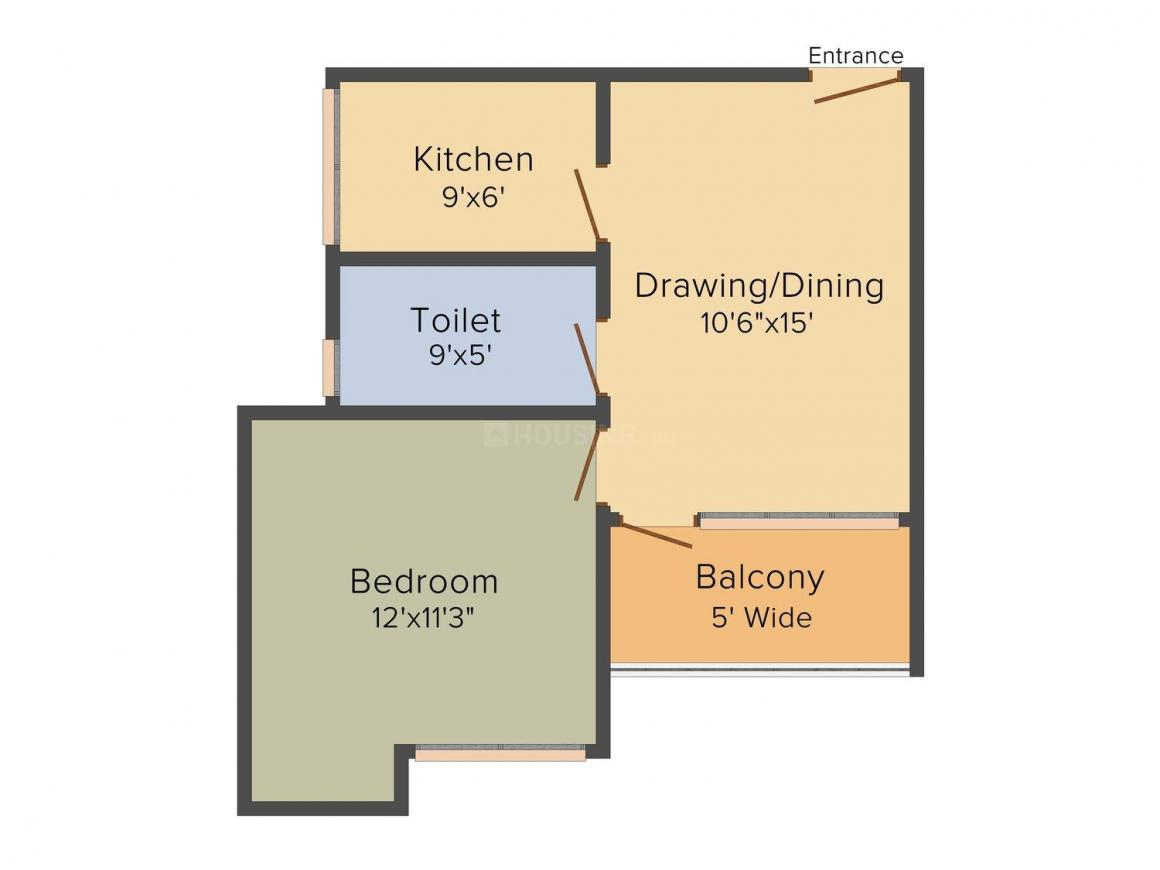 Floor Plan Image of 670 - 1425 Sq.ft 1 BHK Apartment for buy in Le Solitairian Solitairian Estate