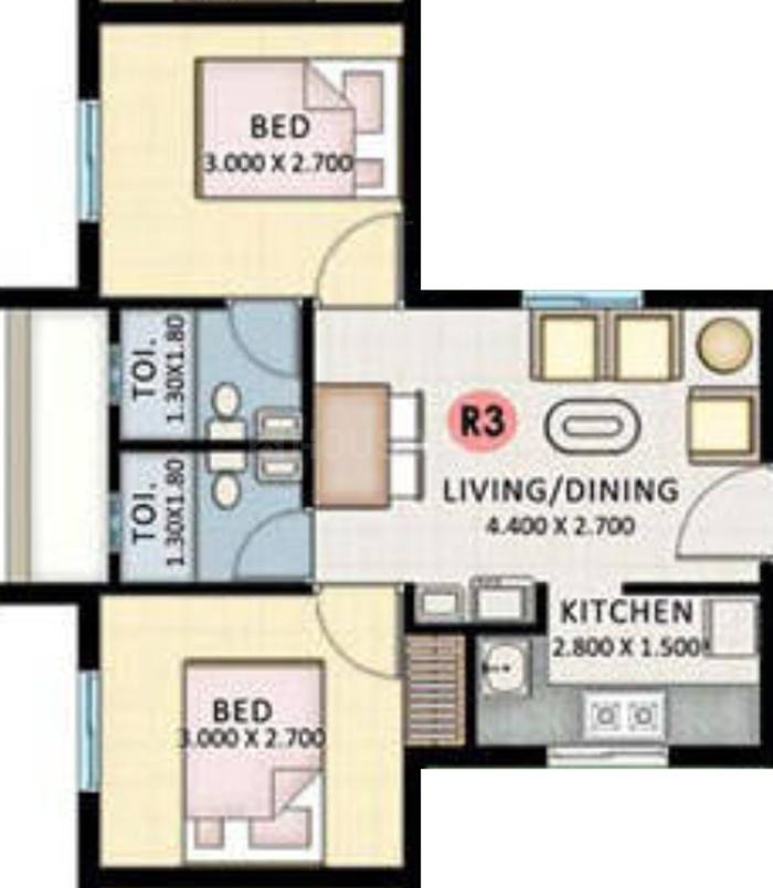 KLP Abhinandan Floor Plan: 2 BHK Unit with Built up area of 593 sq.ft 1