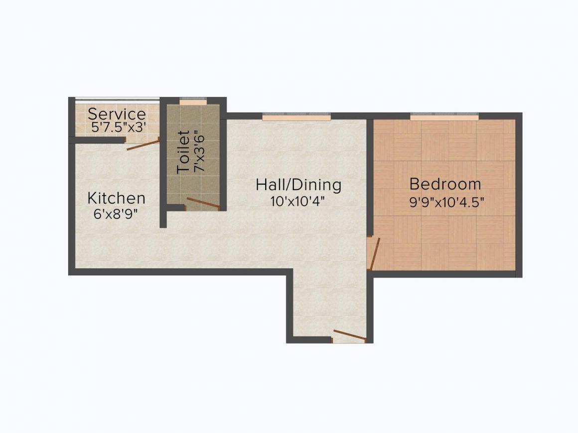 Agma Brindavan Floor Plan: 1 BHK Unit with Built up area of 504 sq.ft 1