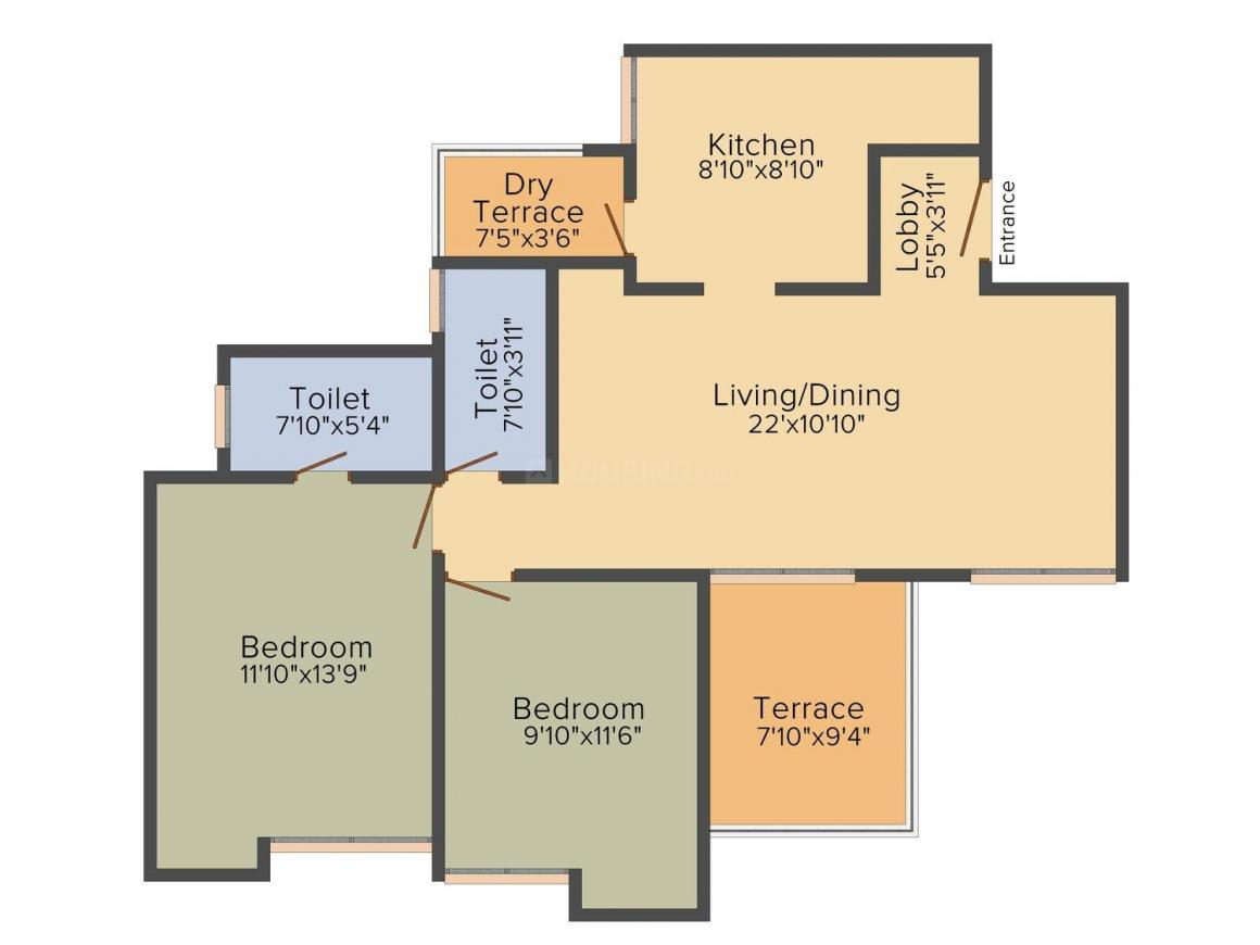 Dreams Onella B wing Floor Plan: 2 BHK Unit with Built up area of 664 sq.ft 1
