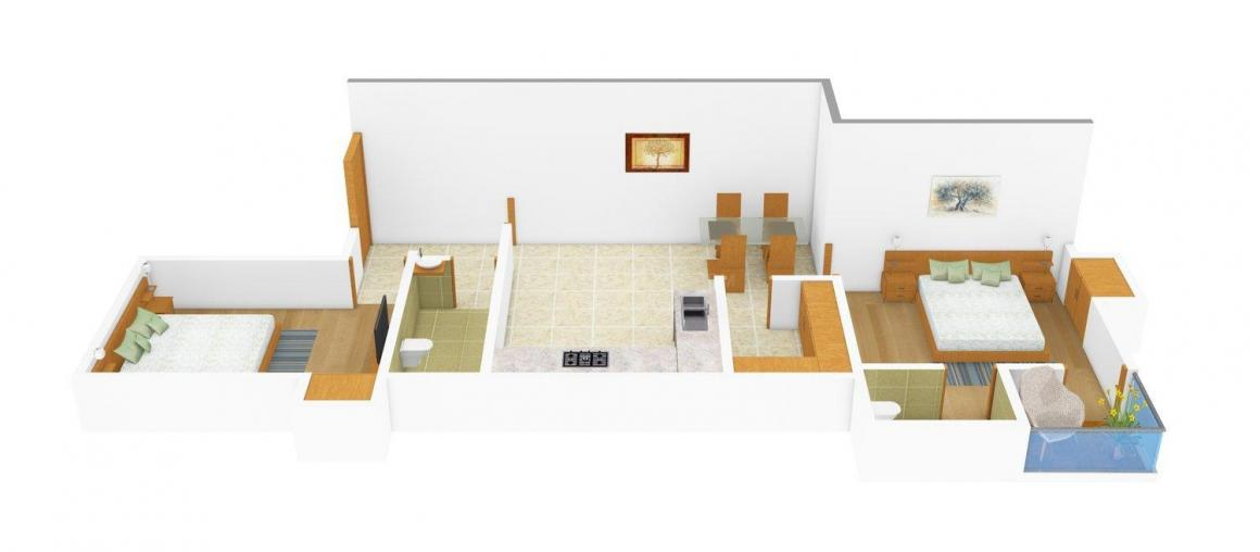 Floor Plan Image of 906.0 - 1100.0 Sq.ft 2 BHK Apartment for buy in Shristi Garia