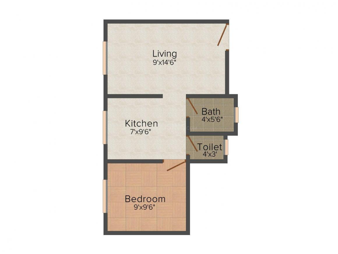 Ambika Heights Floor Plan: 1 BHK Unit with Built up area of 495 sq.ft 1