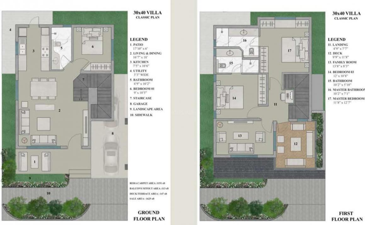 Prime One Beverly Woods Villa Floor Plan: 3 BHK Unit with Built up area of 1625 sq.ft 1