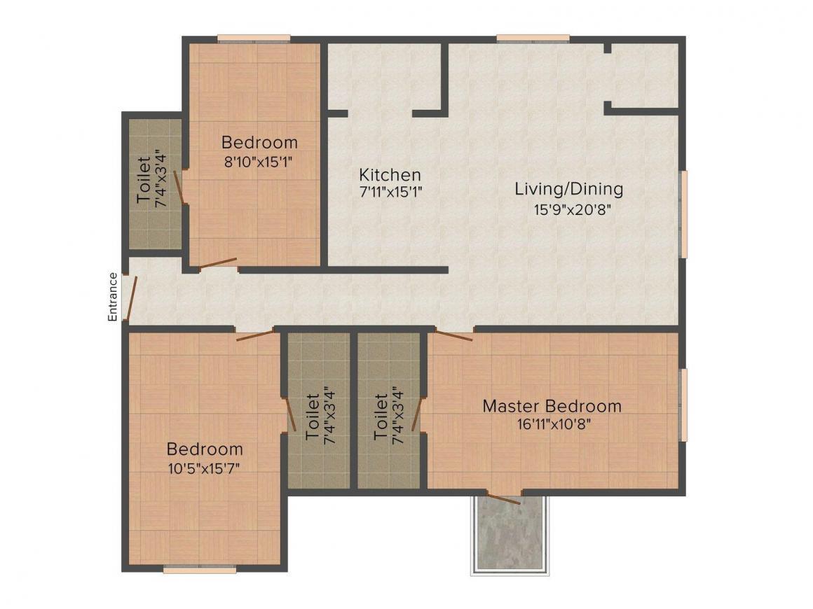 Floor Plan Image of 0 - 1830 Sq.ft 3 BHK Apartment for buy in Mangesh Mi Casa