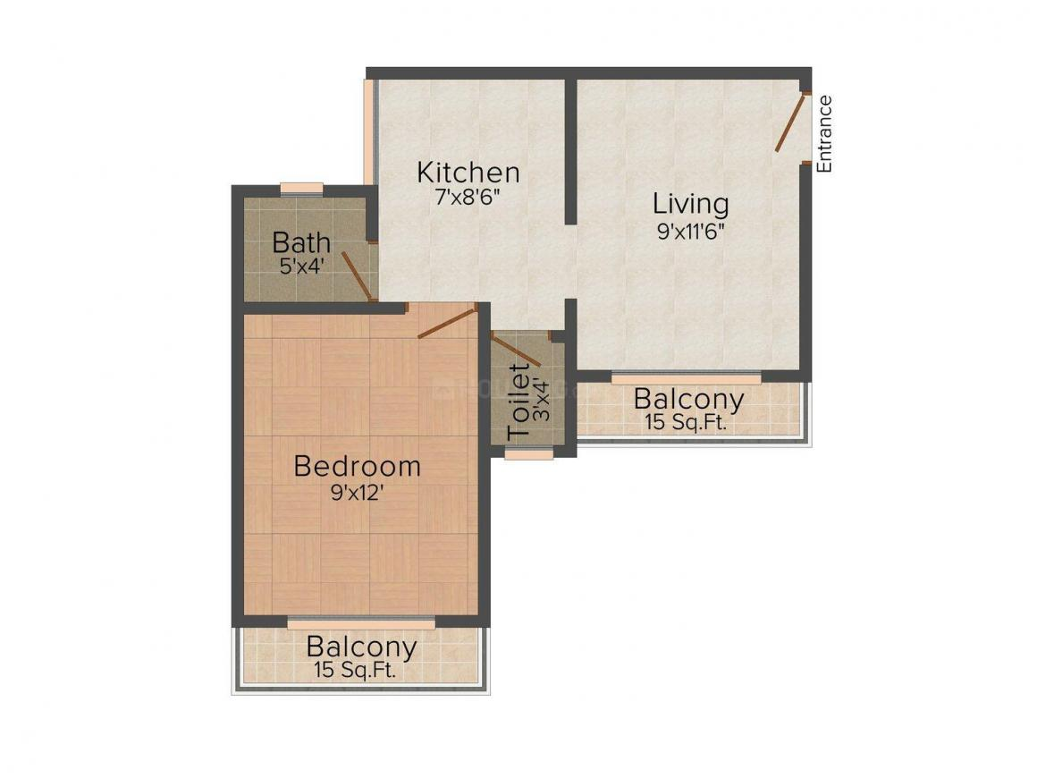 Floor Plan Image of 0 - 619 Sq.ft 1 BHK Apartment for buy in Shree Vastupurti Hill View Complex