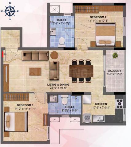 Radiance Sapphire Floor Plan: 2 BHK Unit with Built up area of 1103 sq.ft 1