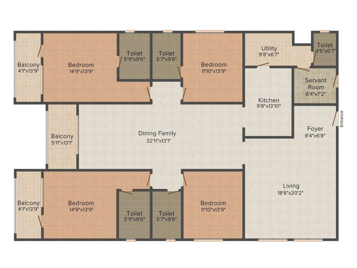 Floor Plan Image of 0 - 3219 Sq.ft 4 BHK Apartment for buy in Sobha Jade