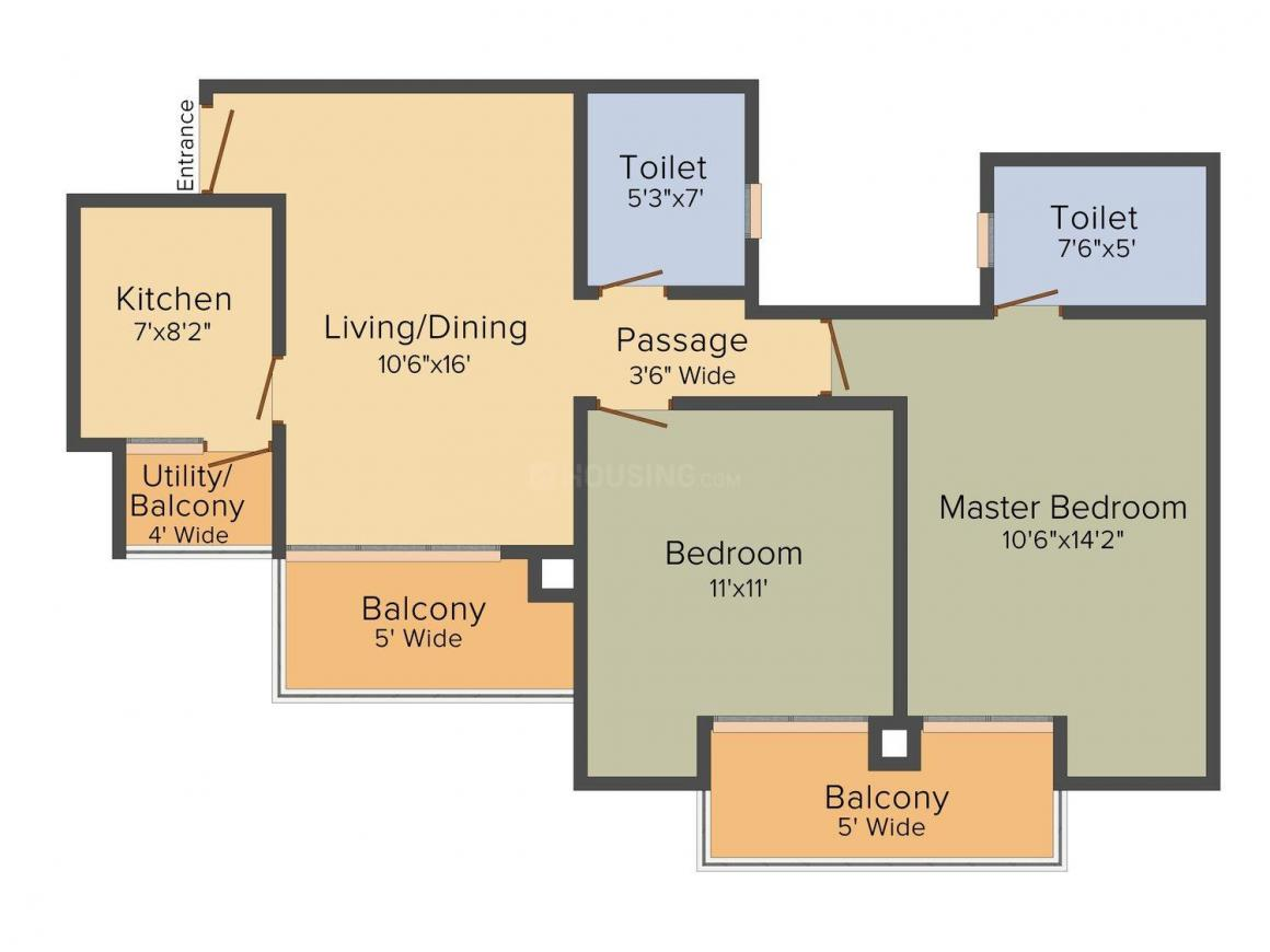 Floor Plan Image of 1100.0 - 1575.0 Sq.ft 2 BHK Apartment for buy in Tata Value Homes