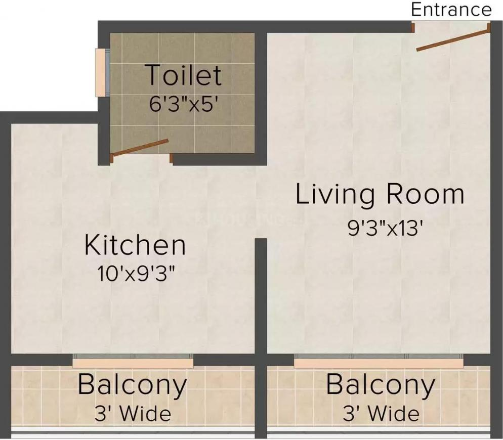 Floor Plan Image of 445.0 - 585.0 Sq.ft 1 RK Apartment for buy in NK Chandika Heights