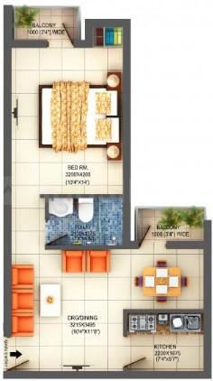 Adwik Group Flora Casa Floor Plan: 1 BHK Unit with Built up area of 800 sq.ft 1