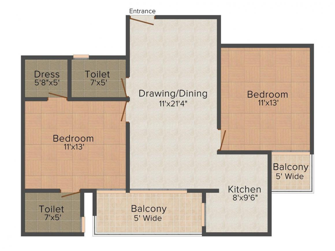 Floor Plan Image of 1100 - 1410 Sq.ft 2 BHK Apartment for buy in Royce Woods