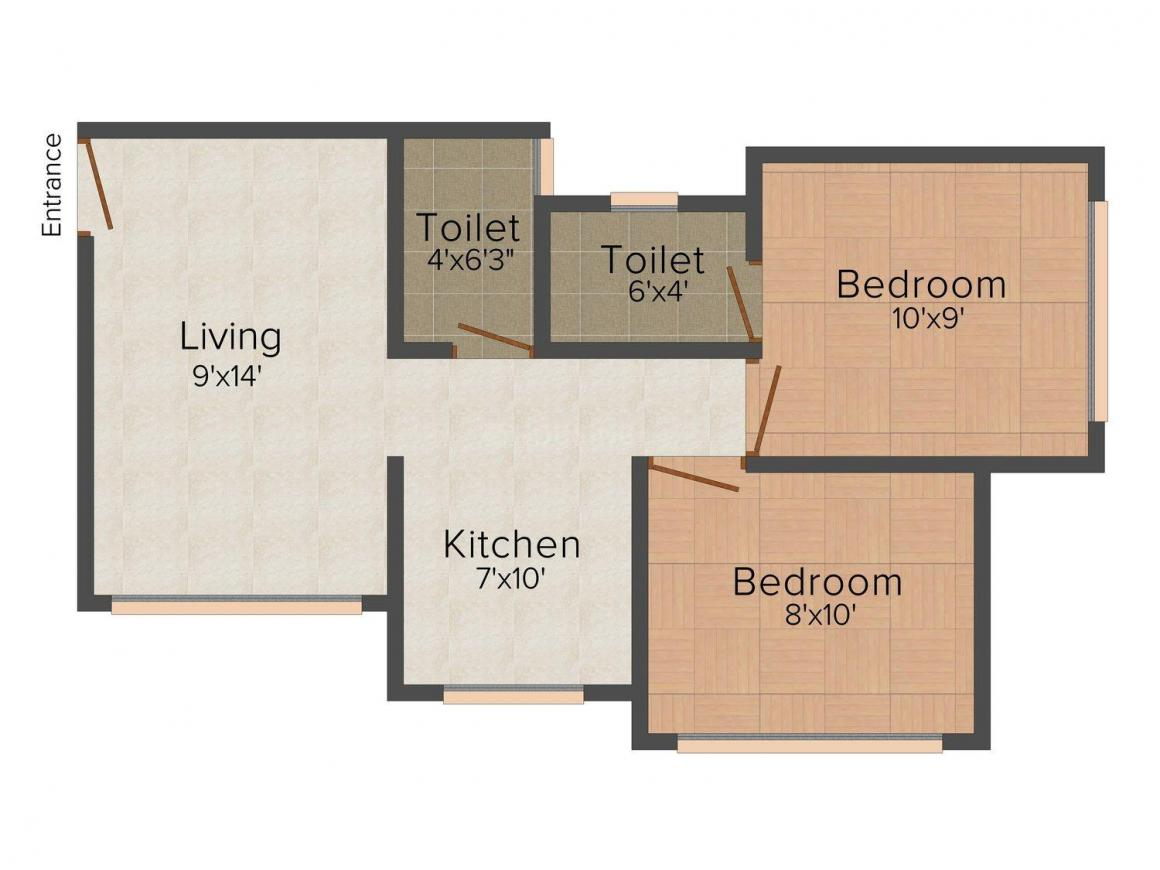 Floor Plan Image of 427.0 - 561.0 Sq.ft 2 BHK Apartment for buy in Truvaes Ajaramar Enclave