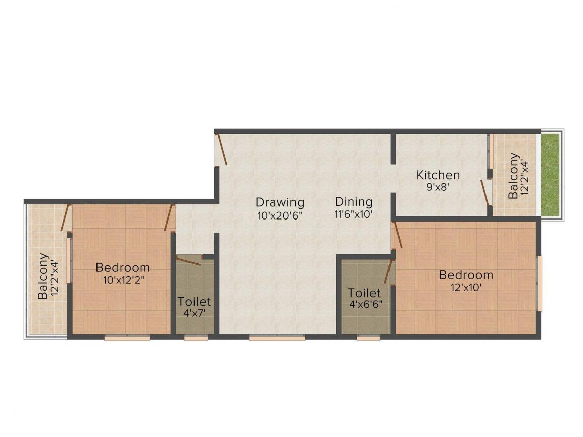 Floor Plan Image of 1000 - 1200 Sq.ft 2 BHK Apartment for buy in Sakshi Sparsh II