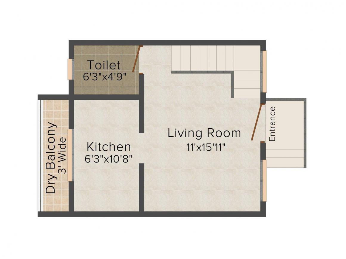 Floor Plan Image of 0 - 639.0 Sq.ft 1 BHK Villa for buy in Vrundavan Paradise