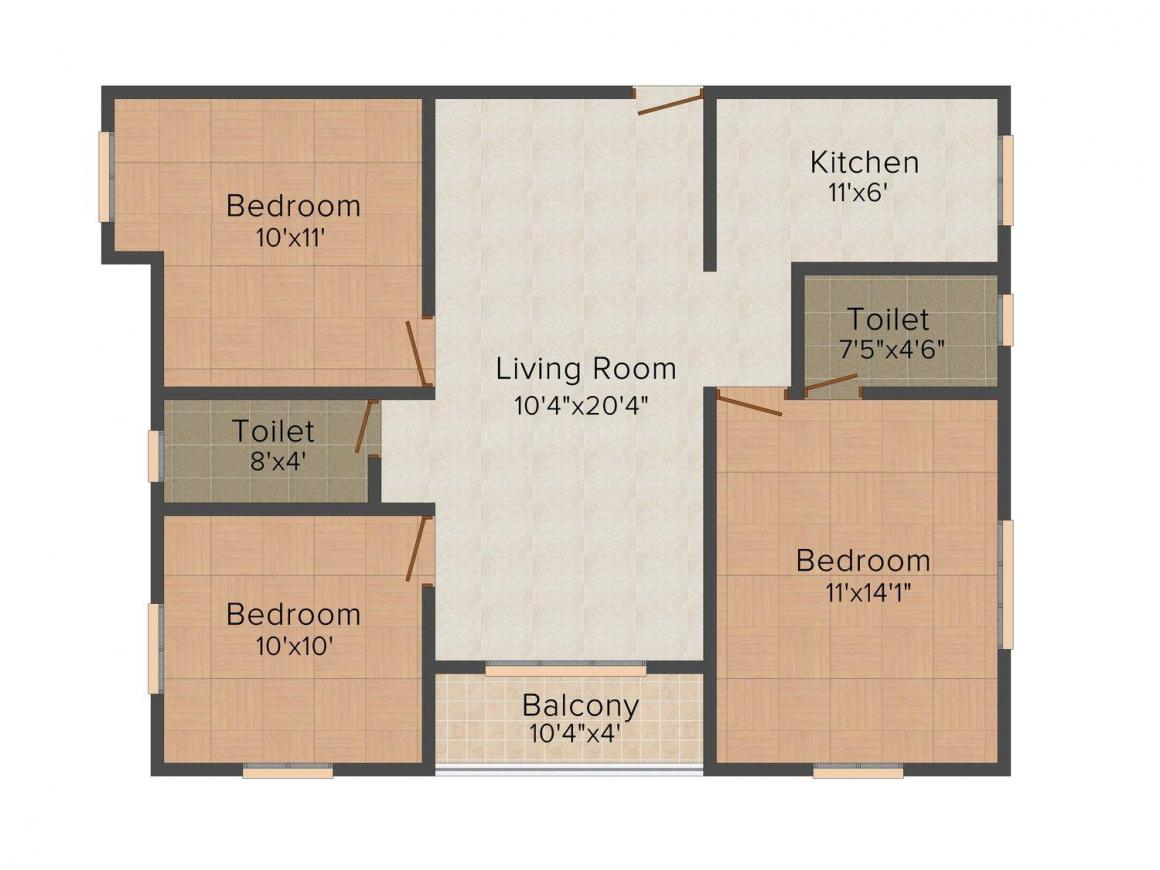 Floor Plan Image of 0 - 1093.0 Sq.ft 3 BHK Apartment for buy in Agam Lingashtagam