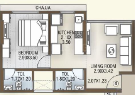DGS Sheetal Tapovan Floor Plan: 1 BHK Unit with Built up area of 340 sq.ft 1