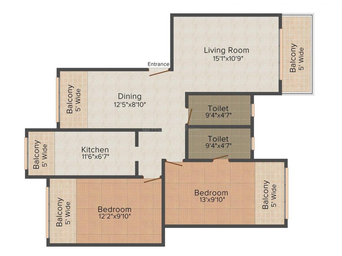 Floor Plan Image of 1115 - 1700 Sq.ft 2 BHK Apartment for buy in Kamat Prestige