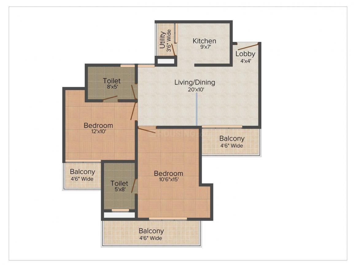 Floor Plan Image of 1140 - 2450 Sq.ft 2 BHK Apartment for buy in Amrapali Eden Park