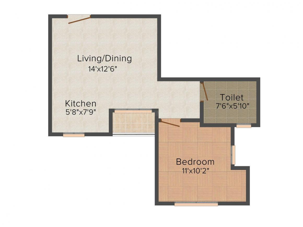 Floor Plan Image of 456.0 - 2064.0 Sq.ft 1 BHK Apartment for buy in Siddha Aangan Heights