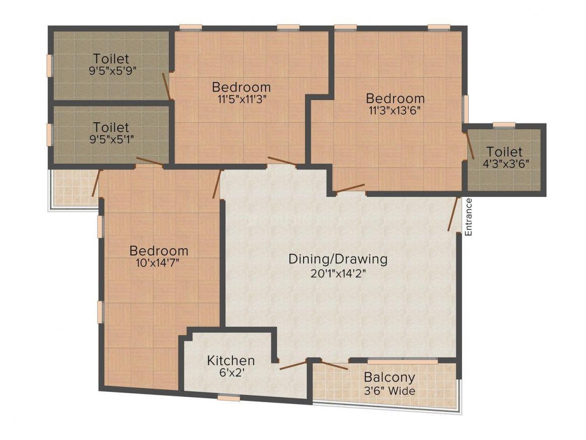 Floor Plan Image of 0 - 1250 Sq.ft 3 BHK Independent Floor for buy in Prestige Greens
