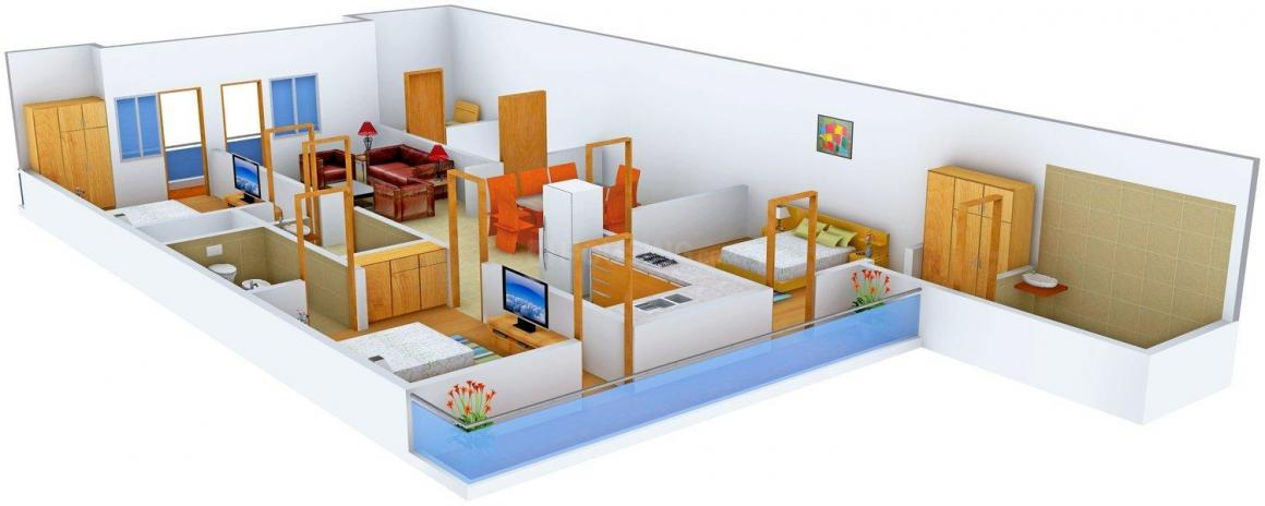 Lakshay Homes 1200/28 Floor Plan: 3 BHK Unit with Built up area of 1700 sq.ft 1