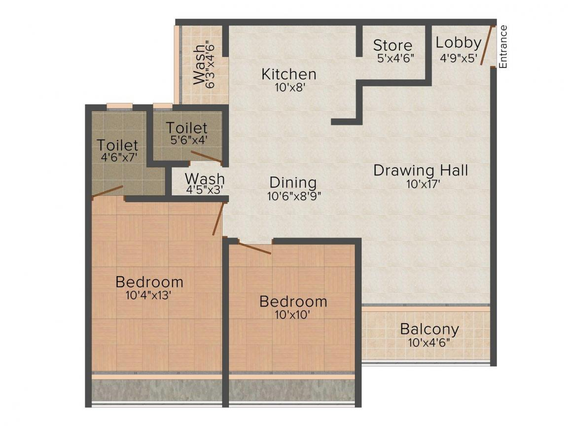 Floor Plan Image of 1341 - 1737 Sq.ft 2 BHK Apartment for buy in Vandemataram Icon