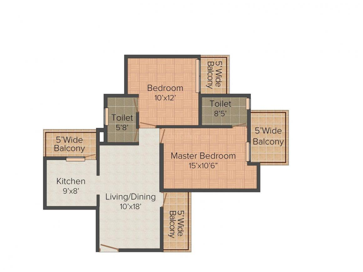 Amrapali Sapphire Floor Plan: 2 BHK Unit with Built up area of 1140 sq.ft 1