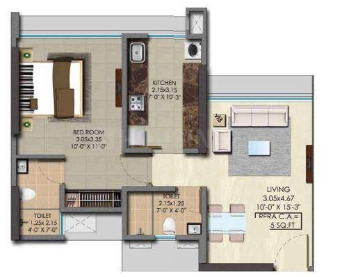 Srishti Pride Phase 1 Floor Plan: 1 BHK Unit with Built up area of 465 sq.ft 1