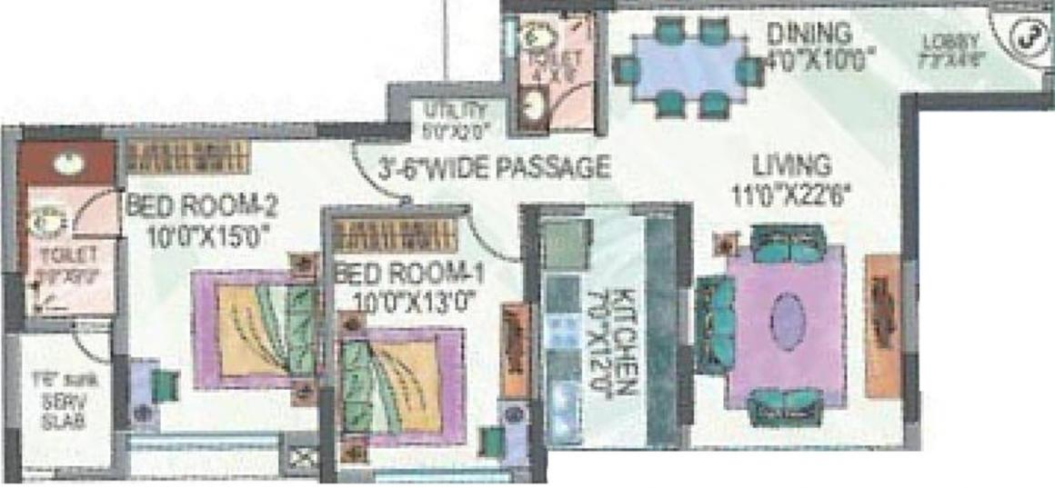 Floor Plan Image of 852.0 - 2160.0 Sq.ft 2 BHK Apartment for buy in Sheth Vasant Valley Ivy Tower