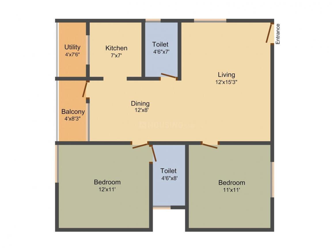 Floor Plan Image of 1015 - 1515 Sq.ft 2 BHK Apartment for buy in i1 Tulasi Premier