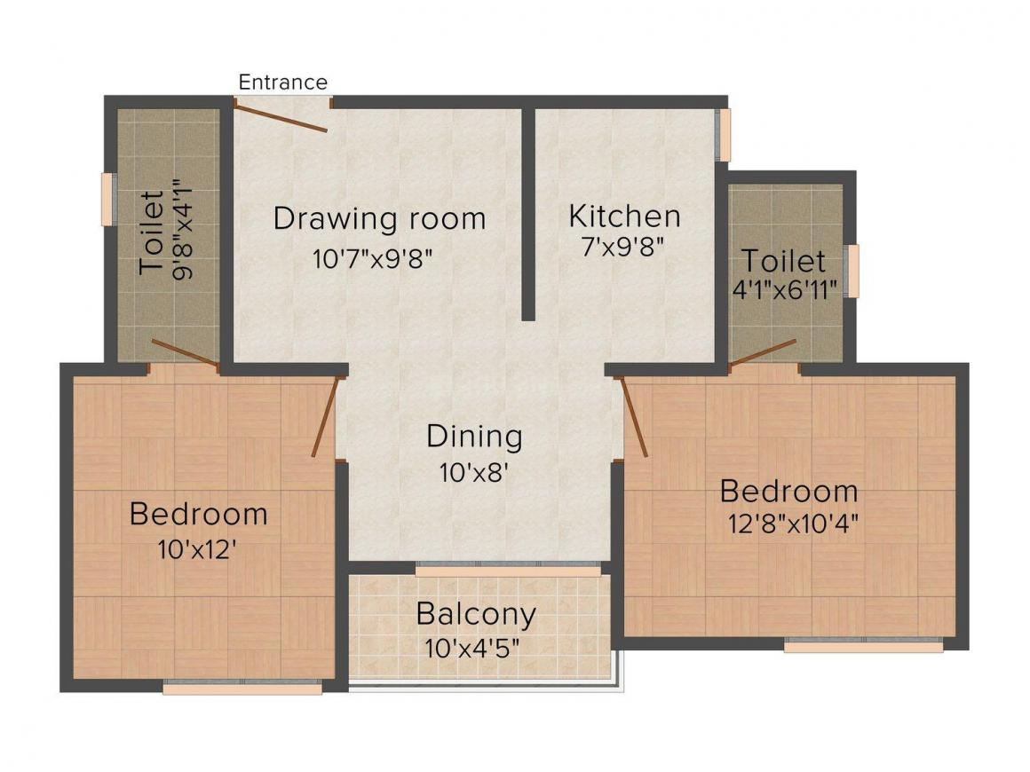 Floor Plan Image of 0 - 845 Sq.ft 2 BHK Independent Floor for buy in Ashiana Orchid