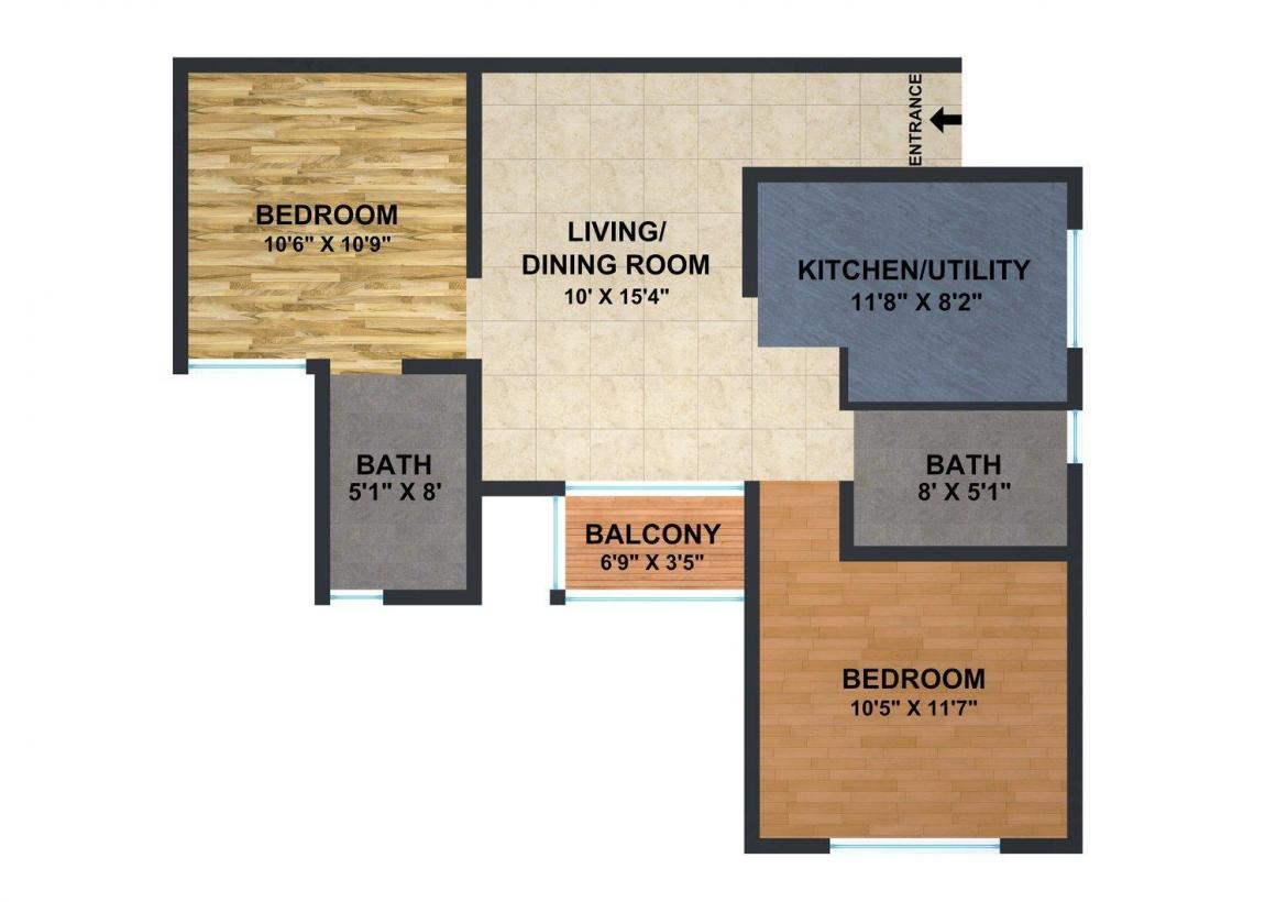 Brigade Panorama Ph - 2 Floor Plan: 2 BHK Unit with Built up area of 940 sq.ft 1
