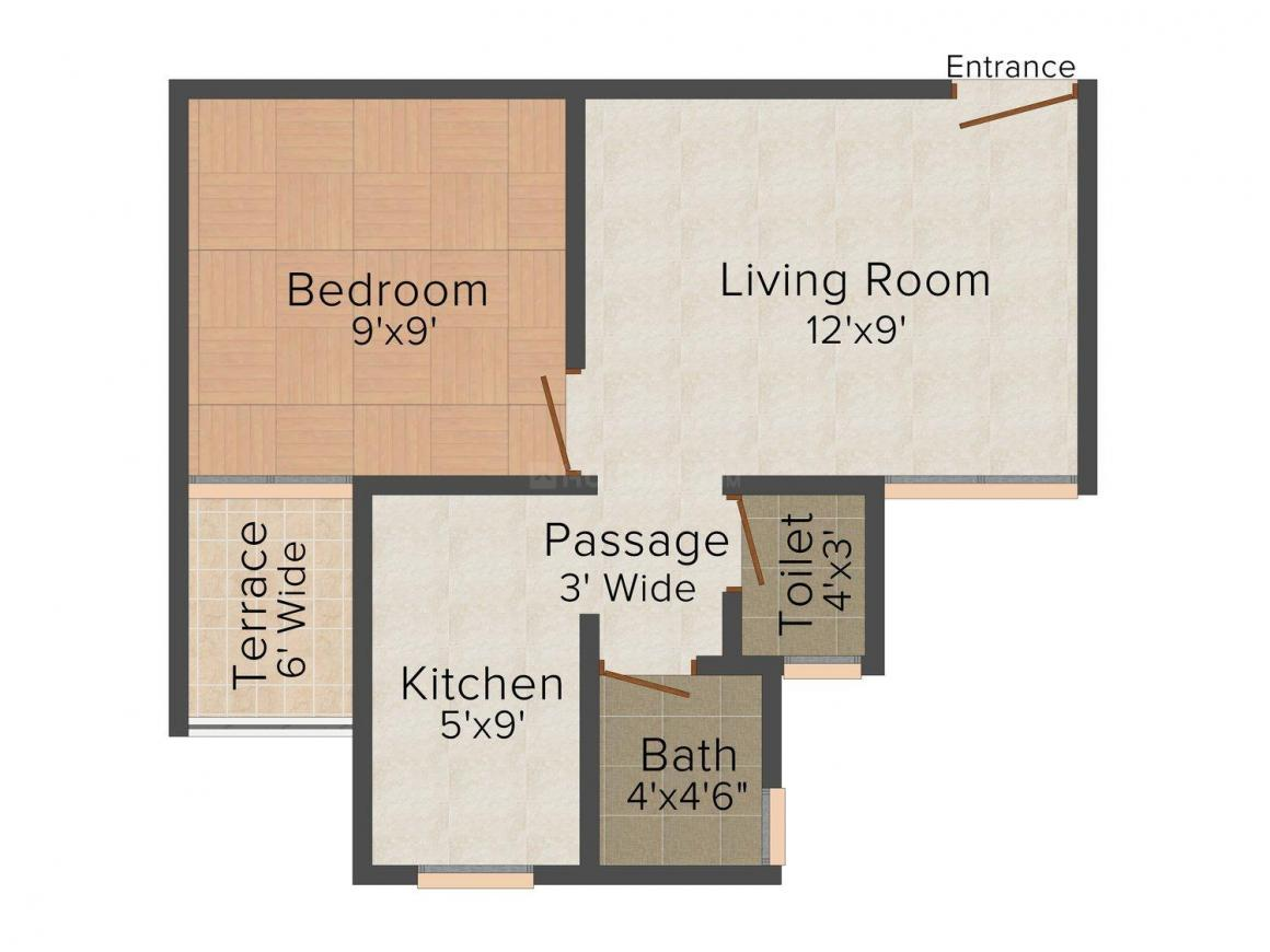 Floor Plan Image of 0 - 420 Sq.ft 1 BHK Apartment for buy in Squarefeet Orion Square