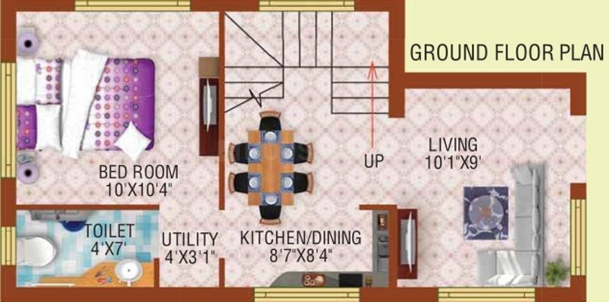 Bloomsbury Convicity Villas Floor Plan: 2 BHK Unit with Built up area of 895 sq.ft 2