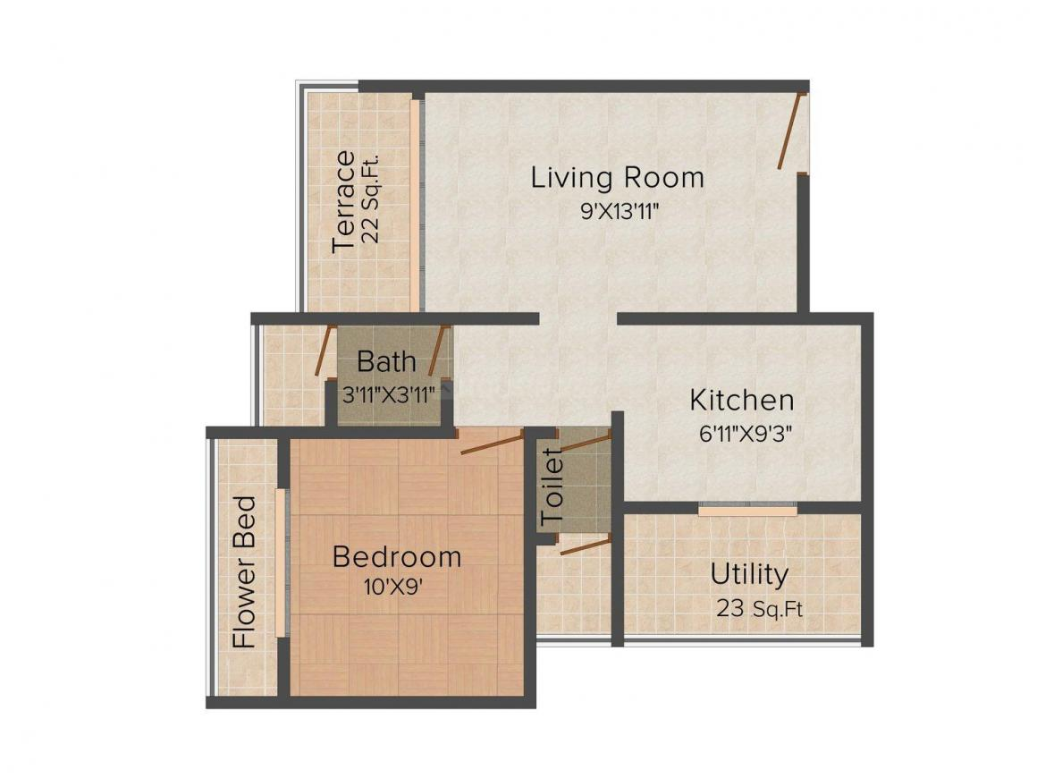 Floor Plan Image of 610.0 - 850.0 Sq.ft 1 BHK Apartment for buy in Shree Krupa Harsh Neel Residency