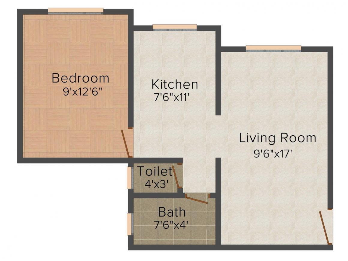 Floor Plan Image of 0 - 585.0 Sq.ft 1 BHK Apartment for buy in Rudra Sai Deep Darshan
