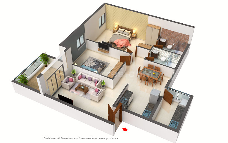 Rishabh The Parksyde Floor Plan: 2 BHK Unit with Built up area of 1177 sq.ft 1