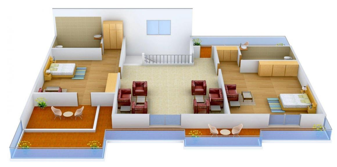 Mather Metro View Floor Plan: 4 BHK Unit with Built up area of 2300 sq.ft 3