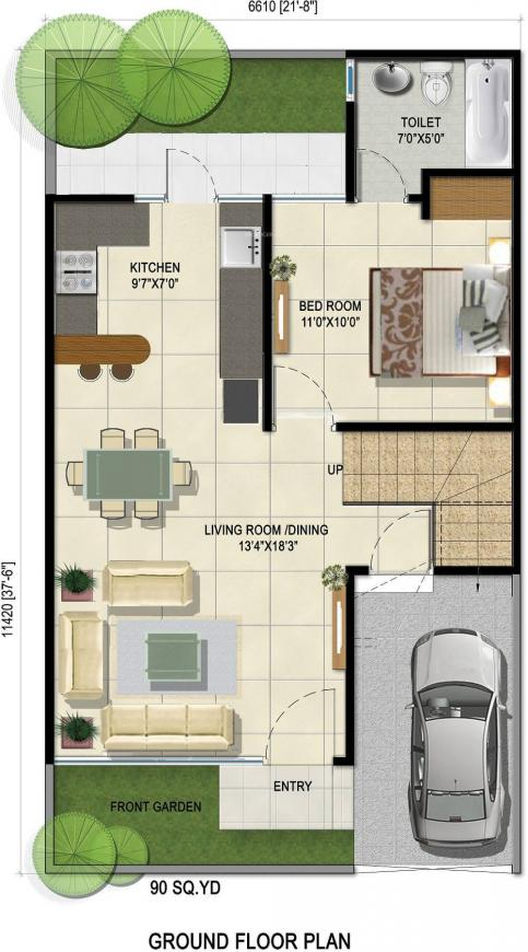 Greens 2 Villa Floor Plan: 4 BHK Unit with Built up area of 1730 sq.ft 1