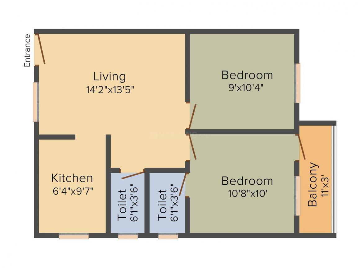 Floor Plan Image of 732 - 1043 Sq.ft 2 BHK Apartment for buy in KP Manor
