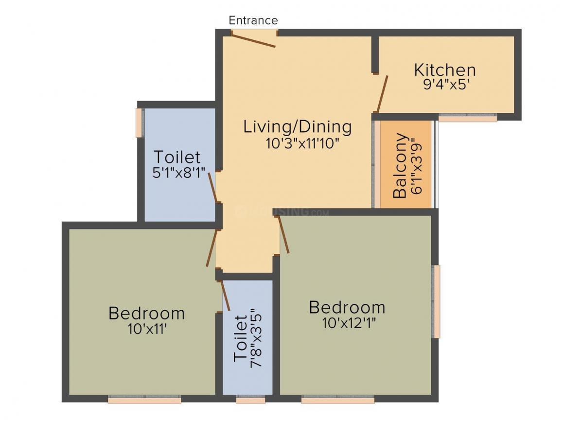 Mondal Porichoy Apartment Floor Plan: 2 BHK Unit with Built up area of 761 sq.ft 1
