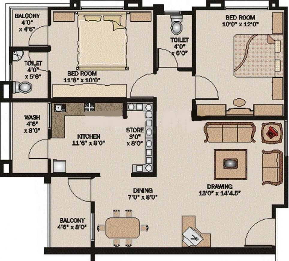 Simandhar Metro Floor Plan: 2 BHK Unit with Built up area of 945 sq.ft 1