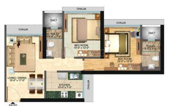 Nrose Northern Heights Floor Plan: 2 BHK Unit with Built up area of 656 sq.ft 1