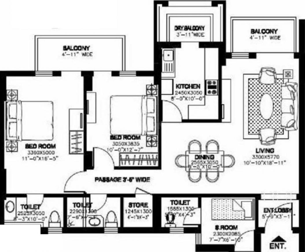 DLF New Town Heights Floor Plan: 2 BHK Unit with Built up area of 1535 sq.ft 1